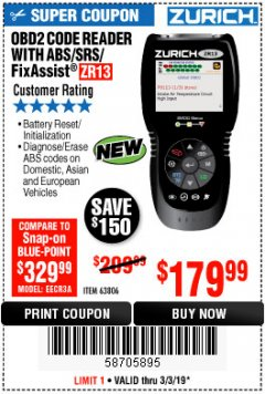 Harbor Freight Coupon ZURICH OBD2 SCANNER WITH ABS ZR13 Lot No. 63806 Expired: 3/3/19 - $179.99
