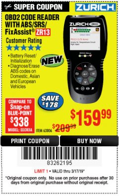 Harbor Freight Coupon ZURICH OBD2 SCANNER WITH ABS ZR13 Lot No. 63806 Expired: 3/17/19 - $159.99