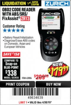 Harbor Freight Coupon ZURICH OBD2 SCANNER WITH ABS ZR13 Lot No. 63806 Expired: 4/30/19 - $179.99
