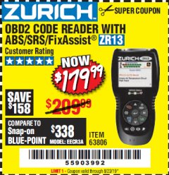 Harbor Freight Coupon ZURICH OBD2 SCANNER WITH ABS ZR13 Lot No. 63806 Valid Thru: 8/23/19 - $179.99