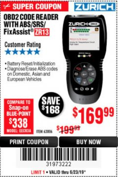 Harbor Freight Coupon ZURICH OBD2 SCANNER WITH ABS ZR13 Lot No. 63806 Expired: 6/23/19 - $169.99