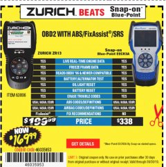 Harbor Freight Coupon ZURICH OBD2 SCANNER WITH ABS ZR13 Lot No. 63806 Valid Thru: 9/30/19 - $169.99