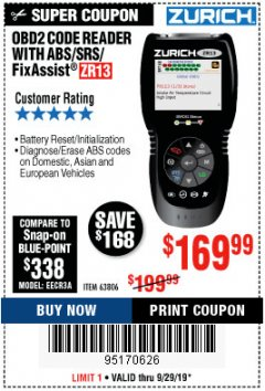 Harbor Freight Coupon ZURICH OBD2 SCANNER WITH ABS ZR13 Lot No. 63806 Valid Thru: 9/29/19 - $169.99
