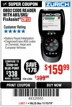 Harbor Freight Coupon ZURICH OBD2 SCANNER WITH ABS ZR13 Lot No. 63806 Valid Thru: 11/13/19 - $159.99