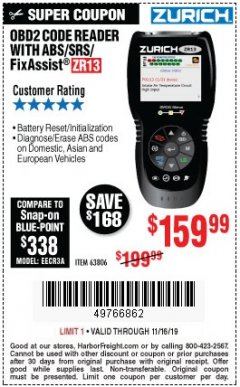 Harbor Freight Coupon ZURICH OBD2 SCANNER WITH ABS ZR13 Lot No. 63806 Valid Thru: 11/16/19 - $159.99
