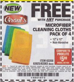 Harbor Freight FREE Coupon MICROFIBER CLEANING CLOTHS PACK OF 4 Lot No. 69678/63358/63363/68440/63925 Expired: 5/28/18 - FWP