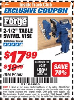 "Harbor Freight ITC Coupon 2-1/2"" TABLE SWIVEL VISE Lot No. 97160 Dates Valid: 5/3/19 - 5/31/19 - $17.99"