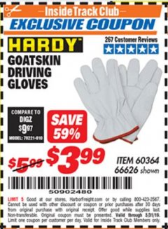 Harbor Freight ITC Coupon GOATSKIN DRIVING GLOVES Lot No. 66626 Dates Valid: 12/31/69 - 5/31/19 - $3.99