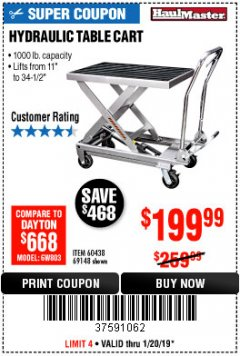 Harbor Freight Coupon 1000 LB. CAPACITY HYDRAULIC TABLE CART Lot No. 69148/60438 Expired: 1/20/19 - $199.99