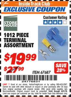 Harbor Freight ITC Coupon 1012 PIECE TERMINAL ASSORTMENT Lot No. 67687 Expired: 8/31/18 - $19.99