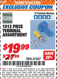 Harbor Freight ITC Coupon 1012 PIECE TERMINAL ASSORTMENT Lot No. 67687 Expired: 2/28/19 - $19.99