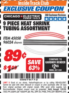 Harbor Freight ITC Coupon 9 PIECE HEAT SHRINK TUBING ASSORTMENT Lot No. 45058/96024 Expired: 1/31/19 - $0.89