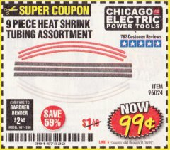 Harbor Freight Coupon 9 PIECE HEAT SHRINK TUBING ASSORTMENT Lot No. 45058/96024 Expired: 11/30/19 - $0.99