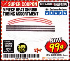 Harbor Freight Coupon 9 PIECE HEAT SHRINK TUBING ASSORTMENT Lot No. 45058/96024 Expired: 3/31/20 - $0.99