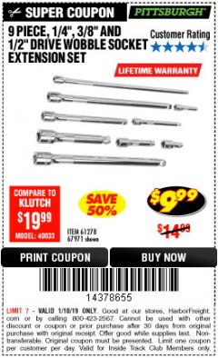 "Harbor Freight ITC Coupon 9 PIECE 1/4"", 3/8"", AND 1/2"" DRIVE WOBBLE SOCKET EXTENSIONS Lot No. 67971/61278 Expired: 1/10/19 - $9.99"