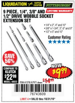 "Harbor Freight Coupon 9 PIECE 1/4"", 3/8"", AND 1/2"" DRIVE WOBBLE SOCKET EXTENSIONS Lot No. 67971/61278 Expired: 10/31/19 - $9.99"