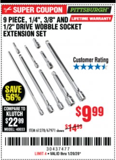 "Harbor Freight Coupon 9 PIECE 1/4"", 3/8"", AND 1/2"" DRIVE WOBBLE SOCKET EXTENSIONS Lot No. 67971/61278 Expired: 1/20/20 - $9.99"