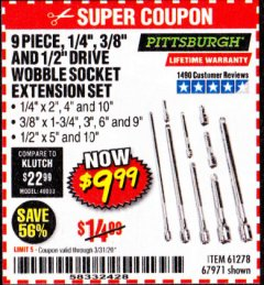 "Harbor Freight Coupon 9 PIECE 1/4"", 3/8"", AND 1/2"" DRIVE WOBBLE SOCKET EXTENSIONS Lot No. 67971/61278 Expired: 3/31/20 - $9.99"