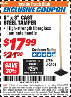 "Harbor Freight ITC Coupon 8"" X 8"" CAST STEEL TAMPER Lot No. 69891 Expired: 11/30/18 - $17.99"