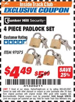 Harbor Freight ITC Coupon 4 PIECE PADLOCK SET Lot No. 97075 Expired: 6/30/18 - $4.49
