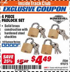 Harbor Freight ITC Coupon 4 PIECE PADLOCK SET Lot No. 97075 Expired: 9/30/19 - $4.49