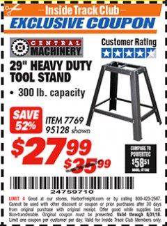 "Harbor Freight ITC Coupon 29"" HEAVY DUTY TOOL STAND Lot No. 7769, 95128 Expired: 8/31/18 - $27.99"
