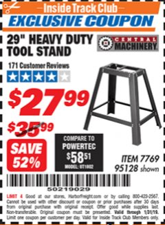 "Harbor Freight ITC Coupon 29"" HEAVY DUTY TOOL STAND Lot No. 7769, 95128 Expired: 1/31/19 - $27.99"