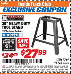"Harbor Freight ITC Coupon 29"" HEAVY DUTY TOOL STAND Lot No. 7769, 95128 Valid Thru: 8/31/19 - $27.99"