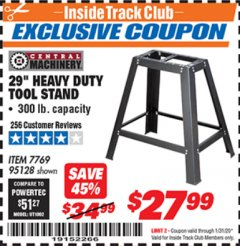 "Harbor Freight ITC Coupon 29"" HEAVY DUTY TOOL STAND Lot No. 7769, 95128 Expired: 1/31/20 - $27.99"