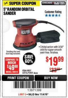 "Harbor Freight Coupon 5"" RANDOM ORBITAL PALM SANDER Lot No. 69857/93431/69917/62216 Expired: 11/4/18 - $19.99"
