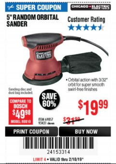 "Harbor Freight Coupon 5"" RANDOM ORBITAL PALM SANDER Lot No. 69857/93431/69917/62216 Expired: 2/10/19 - $19.99"