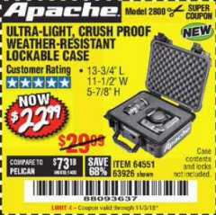 Harbor Freight Coupon APACHE 2800 CASE Lot No. 63926/64551 Expired: 11/3/18 - $22.99