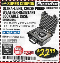 Harbor Freight Coupon APACHE 2800 CASE Lot No. 63926/64551 Expired: 4/30/19 - $22.99