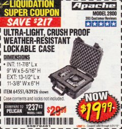 Harbor Freight Coupon APACHE 2800 CASE Lot No. 63926/64551 EXPIRES: 5/31/19 - $19.99
