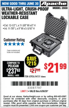 Harbor Freight Coupon APACHE 2800 CASE Lot No. 63926/64551 EXPIRES: 6/30/20 - $21.99