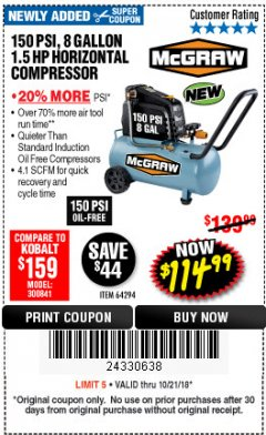 Harbor Freight Coupon MCGRAW 150 PSI, 8 GALLON, 1.5 HP HORIZONTAL COMPRESSOR Lot No. 64294/56269 Expired: 10/21/18 - $114.99