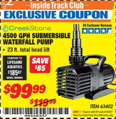 Harbor Freight ITC Coupon CREEKSTONE 4500GPH SUBMERSIBLE WATERFALL PUMP Lot No. 63402 Expired: 4/30/20 - $99.99
