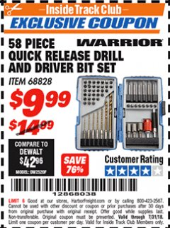 Harbor Freight ITC Coupon 58 PIECE QUICK RELEASE DRILL AND DRIVER BIT SET Lot No. 68828 Expired: 7/31/18 - $9.99
