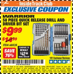 Harbor Freight ITC Coupon 58 PIECE QUICK RELEASE DRILL AND DRIVER BIT SET Lot No. 68828 Expired: 1/31/19 - $9.99