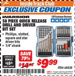 Harbor Freight ITC Coupon 58 PIECE QUICK RELEASE DRILL AND DRIVER BIT SET Lot No. 68828 Expired: 9/30/19 - $9.99