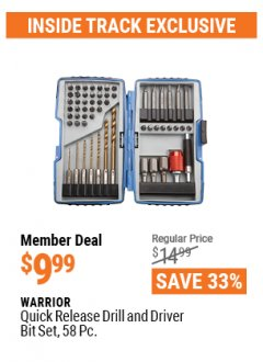 Harbor Freight ITC Coupon 58 PIECE QUICK RELEASE DRILL AND DRIVER BIT SET Lot No. 68828 Expired: 4/29/21 - $9.99