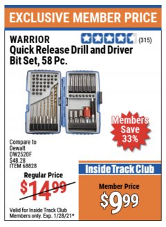 Harbor Freight ITC Coupon 58 PIECE QUICK RELEASE DRILL AND DRIVER BIT SET Lot No. 68828 Expired: 1/28/21 - $9.99