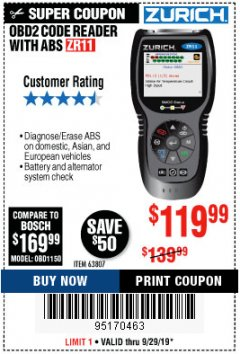 Harbor Freight Coupon ZURICH OBD2 CODE READER WITH ABS ZR11 Lot No. 63807 Valid Thru: 9/29/19 - $119.99