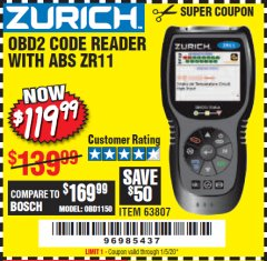 Harbor Freight Coupon ZURICH OBD2 CODE READER WITH ABS ZR11 Lot No. 63807 Valid Thru: 1/5/20 - $119.99