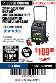 Harbor Freight Coupon 2/10/40/200 AMP 6/12 VOLT AUTOMATIC BATTERY CHARGER WITH ENGINE JUMP START Lot No. 56422 Valid Thru: 9/29/19 - $109.99