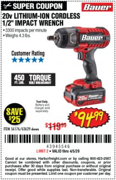 "Harbor Freight Coupon BAUER 20 VOLT LITHIUM CORDLESS 1/2"" IMPACT WRENCH Lot No. 63629/56176 EXPIRES: 6/30/20 - $94.99"