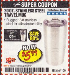Harbor Freight Coupon 20 OZ. STAINLESS STEEL TRAVEL MUG Lot No. 64100 Valid Thru: 10/31/19 - $5.99