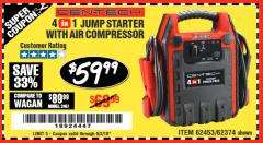 Harbor Freight Coupon 4-IN-1 JUMP STARTER WITH AIR COMPRESSOR Lot No. 60666/69401/62374/62453 Expired: 6/2/18 - $59.99