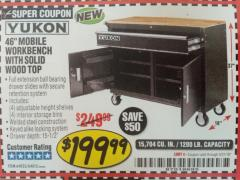 "Harbor Freight Coupon YUKON 46"" MOBILE WORKBENCH WITH SOLID WOOD TOP Lot No. 64023/64012 Expired: 5/31/18 - $199.99"