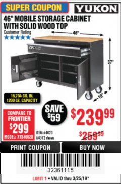 "Harbor Freight Coupon YUKON 46"" MOBILE WORKBENCH WITH SOLID WOOD TOP Lot No. 64023/64012 Expired: 3/25/19 - $239.99"